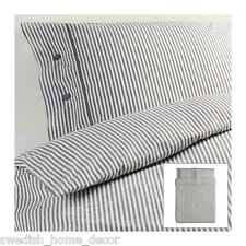 IKEA Grey Classic Ticking Stripe Cottage Duvet Quilt Cover KING Nyponros