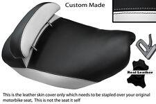 WHITE & BLACK CUSTOM FITS PIAGGIO HEXAGON 125 DUAL LEATHER SEAT COVER