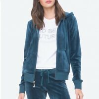 Juicy Couture Luxe Velour Robertson Jacket Petrol Teal Womens Small NEW $88