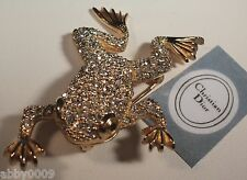 Christian Dior Pave Frog Clear Swarovski Crystal Brooch Pin