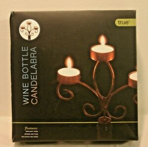 True Fabrications 3-Tier Wrought Iron Wine Bottle Candelabra w/Tealights *Js
