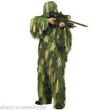 Mens Army Ghillie Combat Uniform Military Camouflage Fancy Dress Costume Outfit