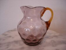 Victorian Phoenix Art Glass Amethyst Inverted Thumbprint Creamer