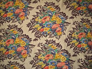 "VINTAGE REPRODUCTION 1940'S FLORAL, 60"" W, SELL BY THE YARD"