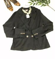 NEW J.Jill  Womens Cardigan Jacket Sz Medium Black Unlined Ponte Knit Blazer NWT