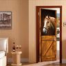 3D Self Adhesive Vintage Stable Horse Door Sticker Wall Decor Mural Wallpaper