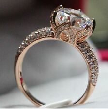 Lotus Flower Style 1 Ct Round Cut Diamond Engagement Ring 14k Rose Gold Plated