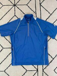 Adidas Golf Jacket Pullover 1/4 Zip Mens Medium M Climaproof Wind Polyester Blue