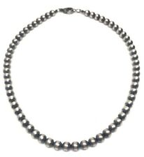 "16"" Navajo Pearls Sterling Silver 6mm Beads Necklace"