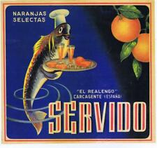 Servido personified fish    original Spanish Orange Crate label