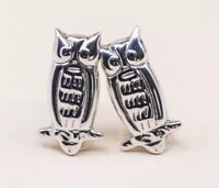 Vtg Sterling Silver Owl Bidd Handmade Earrings, Puffy Mexico 925 Silver Clip On