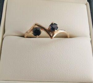Beautiful 9ct Gold Sapphire Unusual Design Ring, Size O
