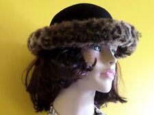 Hat Box Black 100% wool hat with fur brim VGC