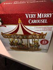 New Mr. Christmas Very Merry Animated Musical Carousel w/Santa Sleigh Reindeer
