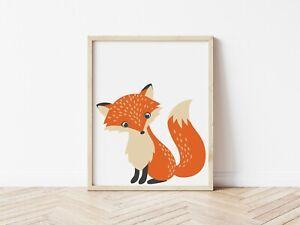 Kids Children's Nursery Bedroom Prints Wall Art Decor Scandi Woodland Animal Fox