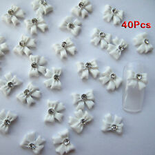 Nail Art 3d 40 Piece White BOW TIE /RHINESTONE for Nails 1.1cm L6