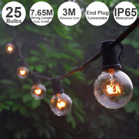 25FT G40 LED Globe String Lights 25 Bulbs Waterproof Garden Party Decor US Plug