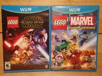 Nintendo Wii U LEGO Video Game Lot Star Wars Force Awakens Marvel Super Heroes
