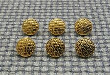 6 Tiny Gold Tone Metal Look Buttons 10mm Vintage Style Blazer Cardigan Doll Bear