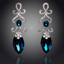 GORGEOUS 18K WHITE GOLD PLATED BLUE/CLEAR CUBIC ZIRCONIA LONG DANGLE EARRINGS