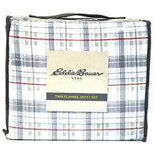 EDDIE BAUER RED & GRAY PLAID 100% COTTON FLANNEL TWIN SHEET SET ~ Free Shipping