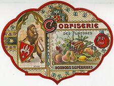 """""""CONFISERIE DES FLANDRES A.P. LILLE"""" Etiquette-chromo originale fin 1800"""