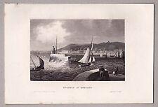 Swansea - Ansicht mit Hafeneinfahrt  - Stich - Stahlstich 1855