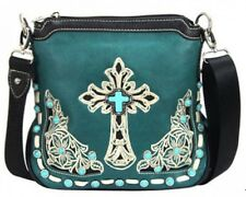 Montana West Turquoise Cross/Floral Embroidery Messenger Bag