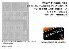 Paint Masks Set for Panzer IV Ausf.H Insignia & Numbers 1/16 Trumpeter #00920