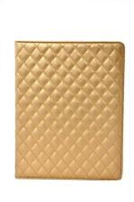 Kolorfish Quilted Luxary Leather Case Cover For Apple iPad 2 3 4--iPlaid--Golden