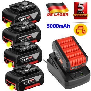 Für Bosch BAT618 BAT609 Akku Ersatzakku GBA 18V 5Ah GSR GSB & AL1820CV Ladegerät