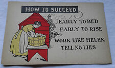 How to Succeed Postcard Early to Bed Early to Rise Work Like Helen Humor VTG