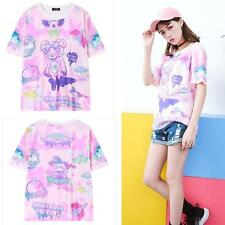 2017  Sailor Moon Girls Shirt Kawaii Pink Bear Summer Cartoon Novelty T-shirt