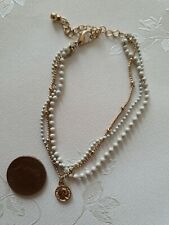 Topshop Delicate Faux Gold Coin Beaded White Bracelet