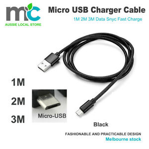 1M/2M Strong Braided Micro USB Data Sync Charger Cable Cord Android Samsung