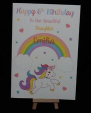 Personalised & Hand Made Unicorn Birthday Card Daughter, Granddaughter, Sister
