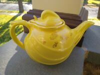 Vintage 50s Hall Mid Century Mod Aladdin Yellow 6 Cup  Teapot Made in USA