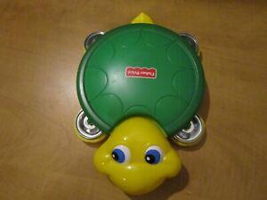 FISHER PRICE YELLOW AND GREEN TURTLE MUSICAL TAMBORINE/DRUM Preschool TOY