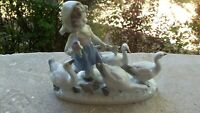 Vintage Bavaria Germany Figurine Girl with Geese Ducks Goose Porcelain Figurine
