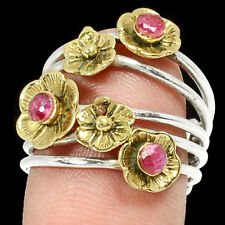Two Tone Tribal - Ruby 925 Sterling Silver Ring Jewelry s.6.5 RR82148