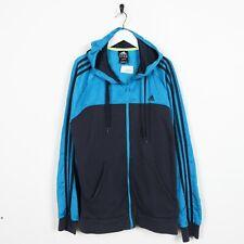 Vintage ADIDAS Small Logo Polyester Zip Up Hoodie Sweatshirt Blue XL