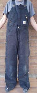 Carhartt Black/Red Quilt-lined zipped Men's Bibs Overalls R38 Size 32x32 14806
