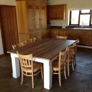 8,10,12 Seater,Oak /Walnut effect Dining Table 295cm x 122cm, 25mm top,140mm leg