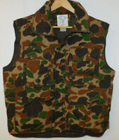 Vintage TROPHY CLUB by Hilton Field Camo Puffer Goose Down Hunting Vest L