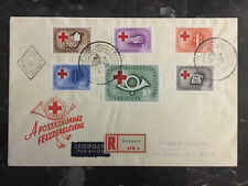 1957 Budapest Hungary First Day cover to USA Red Cross Semi Postals