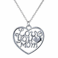 Love You Mom Mothers Day Gift Heart Shaped Necklace Chain Alloy Plated Pendant