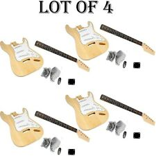 LOT OF (4) - Pyle's Unfinished Strat Electric Guitar Kit - You Build The Guitar