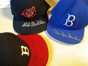 Lot of 3 MLB HOF Signed Autographed Hat Lot Duke Snider Bob Feller Warren Spahn