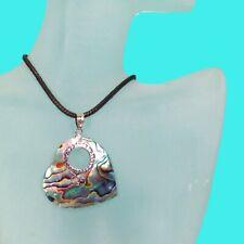 "Design Handmade Pendant 925 Sterling Silver 1 1/2""Abalone Shell Heart Shape Bali"