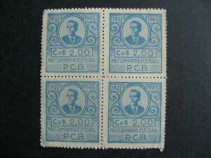 Brazil 1922-45 PCB label MNG block of 4 check it out!